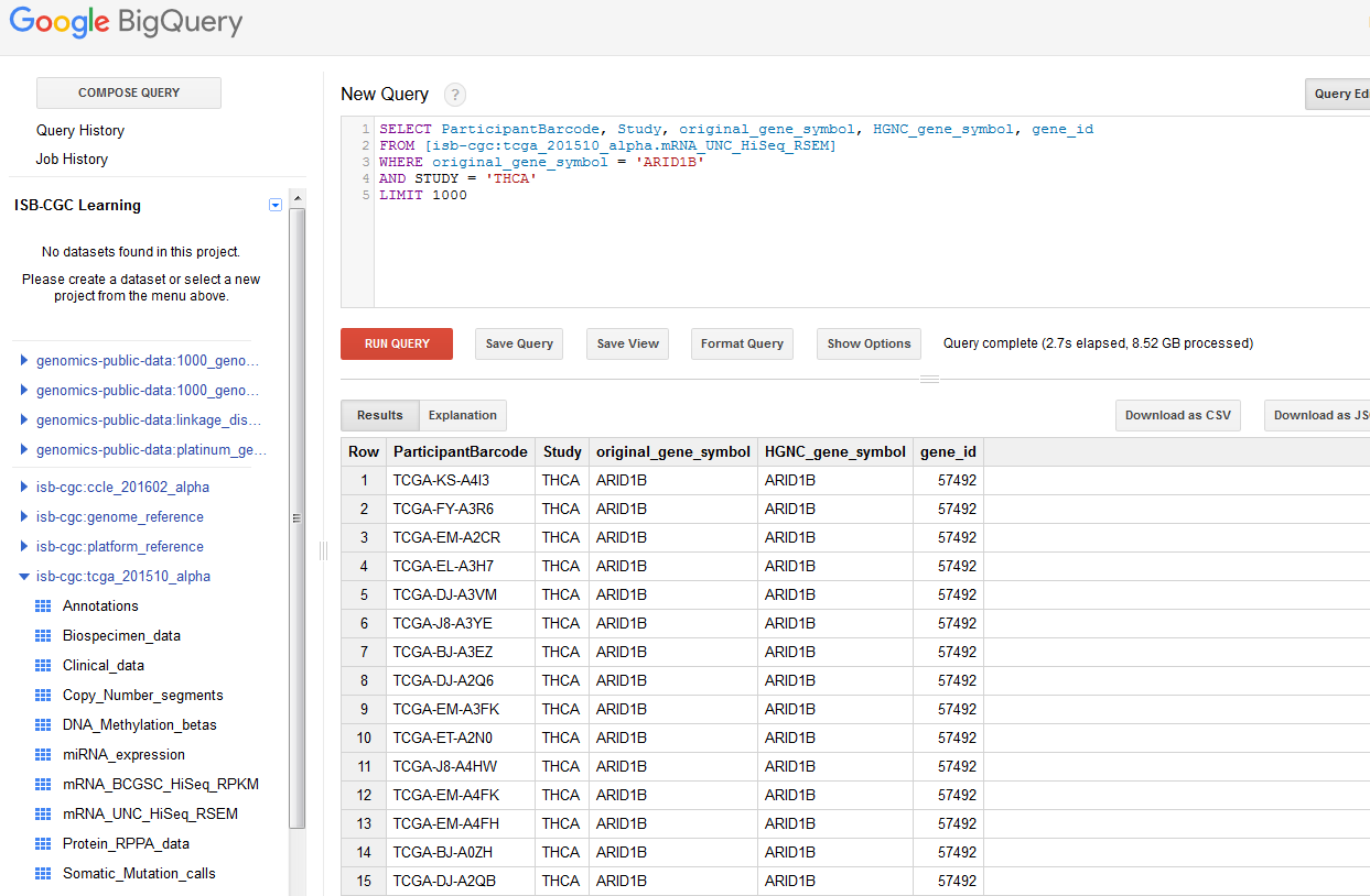 Walk Through of Google BigQuery — ISB Cancer Genomics Cloud